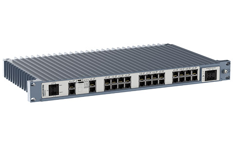 Westermo Industrial Rackmount Switch Redfox-5528-T28G left view.